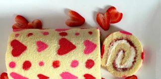 Gâteau roulé de la saint valentin avec Thermomix