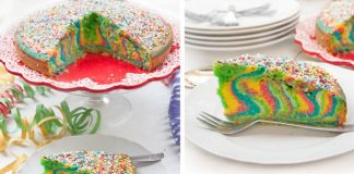 Gâteau rainbow marbré
