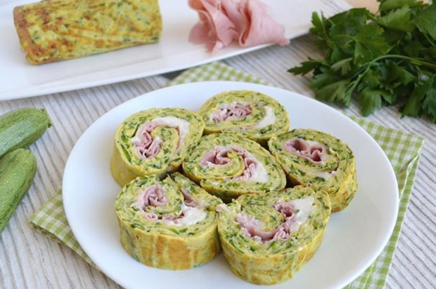Omelette roulée aux courgettes et jambon Weight Watchers