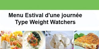 Menu estival d'une journée Type Weight Watchers