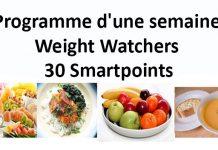 Programme d'une semaine Weight Watchers de 30 Smartpoints