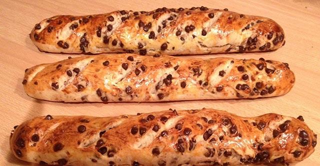 Baguette viennoise aux pépites de chocolat