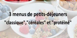 """3 menus de petits-déjeuners """"classique"""",""""céréales"""" et """"protéiné"""""""