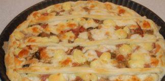 Tarte aux champignons, jambon et fromage WW