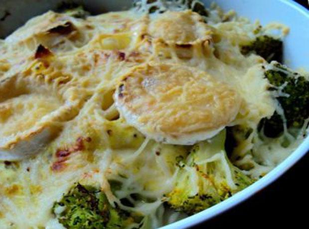 gratin de pâtes au brocoli et chèvre ww