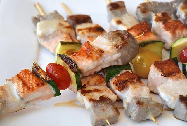 Brochettes de poisson et courgettes ww