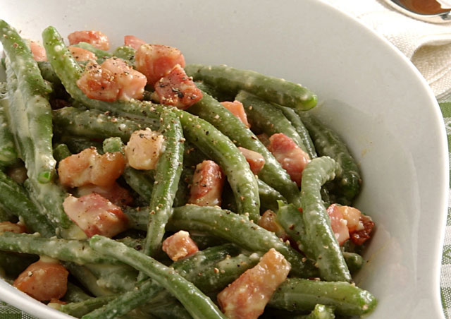 haricots verts la carbonara ww plat et recette. Black Bedroom Furniture Sets. Home Design Ideas