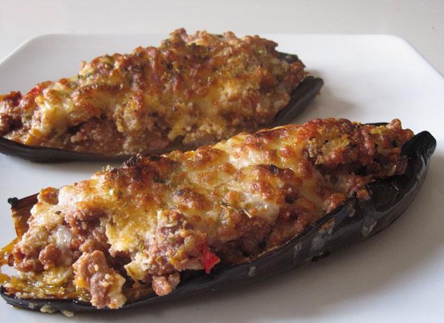 aubergines farcies à la viande hachée WW