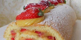 roulé à la crème au citron et aux fraises au Thermomix