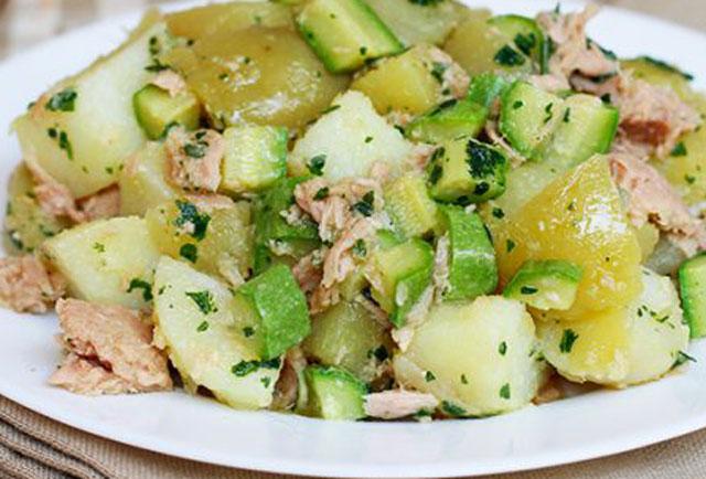 salade de pomme de terre aux courgettes et au thon WW