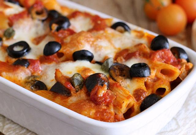 Gratin de Pâtes aux Tomates Cerises / Mozzarella et Olives WW