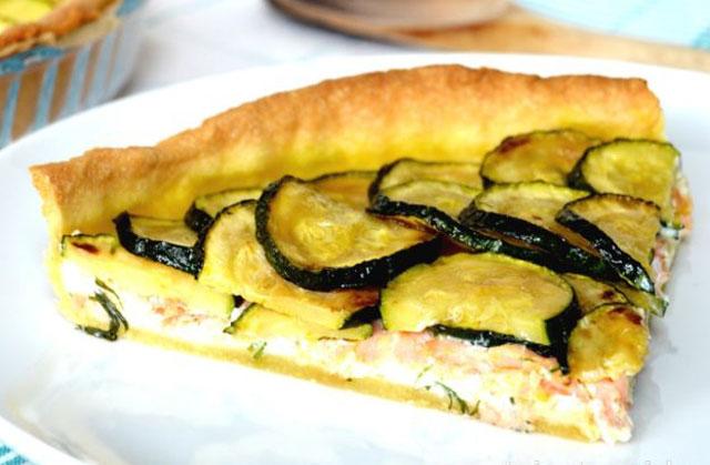 tarte au saumon / courgettes et ricotta WW