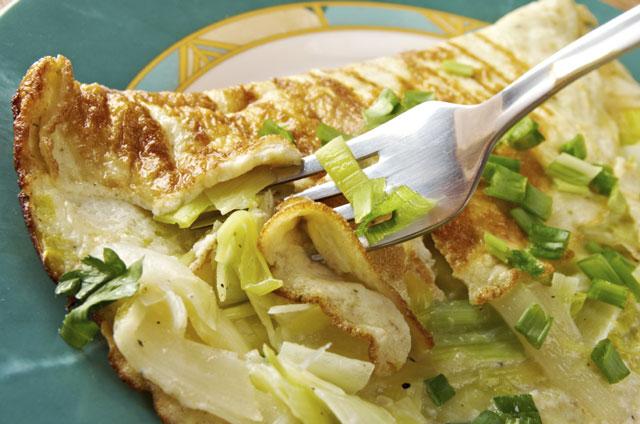 omelette légère aux poireaux et emmental WW