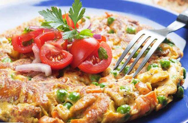 omelette légère aux petits pois WW