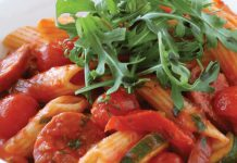 pâtes au chorizo / courgettes et tomates cerises WW