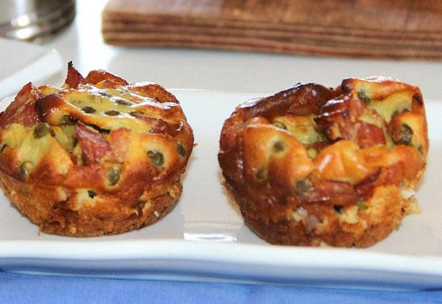 Muffins Légers aux Petits Pois et au Jambon WW