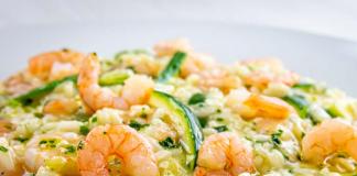 risotto léger aux crevettes et aux courgettes WW
