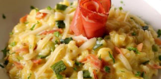 risotto léger aux courgettes et lardons WW