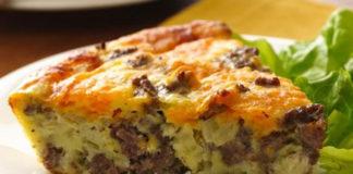 quiche sans pâte à la viande hachée WW, une savoureuse quiche légère, sans pâte à base de viande hachée, facile et rapide à réaliser pour un repas léger.
