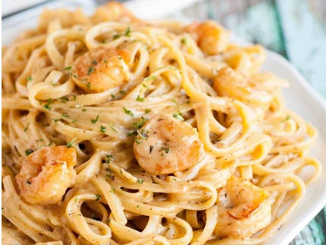 Spaghettis aux Crevettes et à l'Ail WW