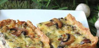 quiche légère aux champignons et emmental, une savoureuse quiche légère à base de champignons sans crème fraîche facile et simple à réaliser