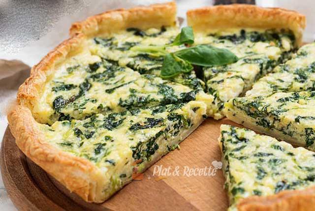 tarte légère aux épinards et chèvre frais, une savoureuse tarte légère à base d'épinards et de fromage de chèvre frais, facile et simple à réaliser
